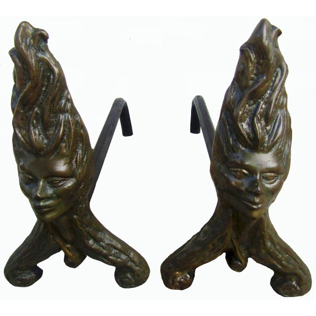Antique Fire Dog Chenet Figural Water Nymph Fireplace Andirons - a Pair For Sale - Image 10 of 10