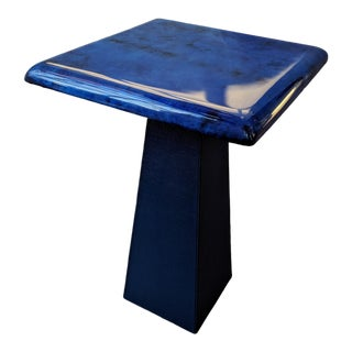 Modern Cobalt Blue Leather Side Table For Sale