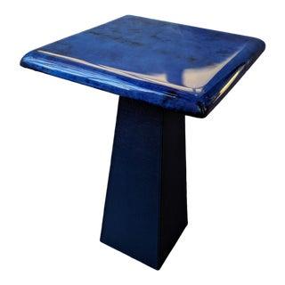 Modern Cobalt Blue Leather Side Table For Sale