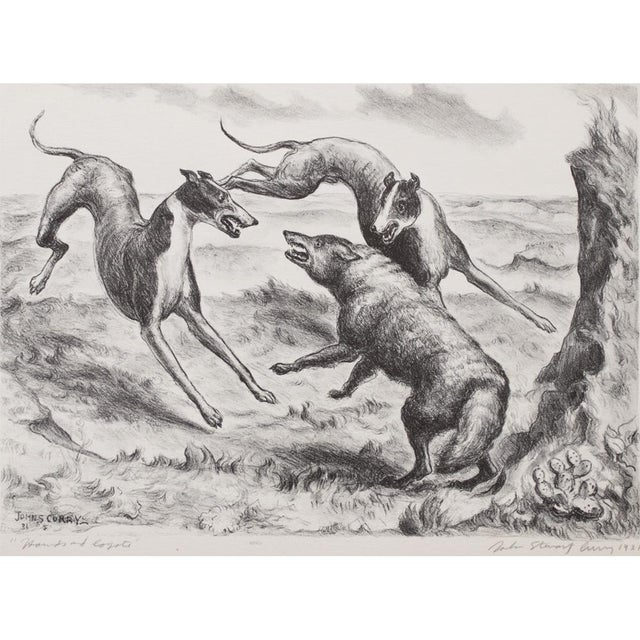 Original period black and white photogravure of drawing Hounds and Coyote (1931) by John Steuart Curry (1897-1946) ,...