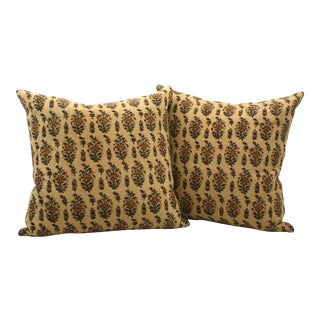 Vintage Paisley Block Print Pillows - A Pair For Sale