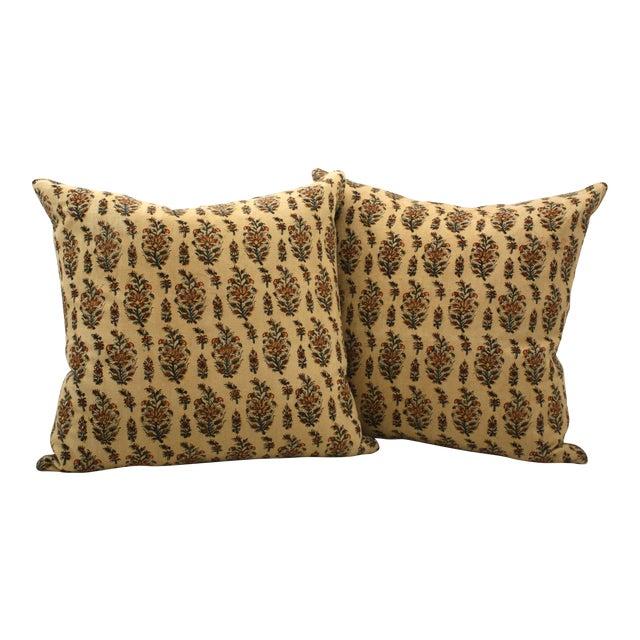 Vintage Paisley Block Print Pillows - A Pair - Image 1 of 3