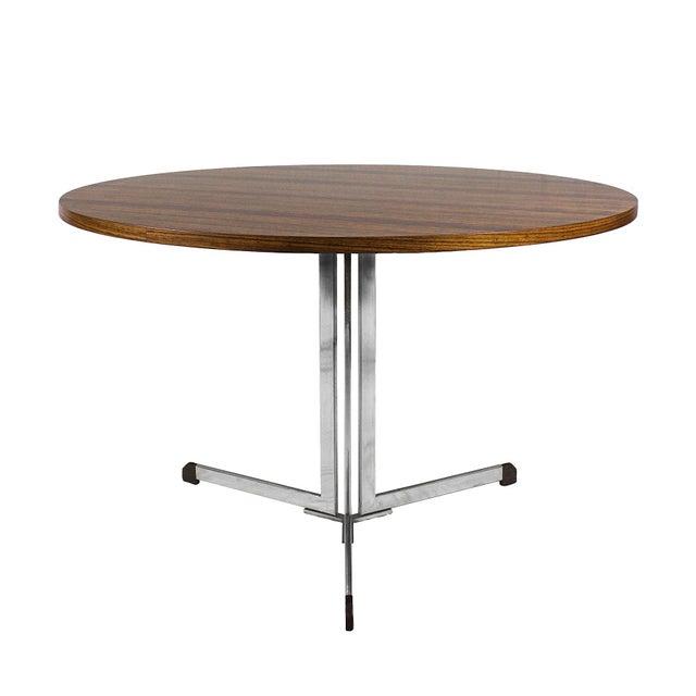 Metal 1950s Round Table, Nickel-Plated Steel and Zebra Wood Veneer - Italy For Sale - Image 7 of 7
