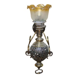 Large Colonial Style Hurricane Wall Lamp For Sale