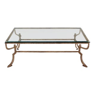 Studio Work Wrought Iron Base Glass Top Coffee Table For Sale