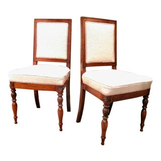 Pair of French Walnut Chairs With Square Backs, 19th Century For Sale