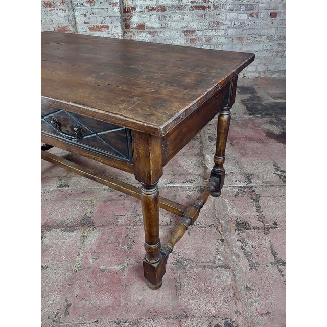 Spanish Revival Two Drawer Writing / Dining Table For Sale - Image 9 of 10
