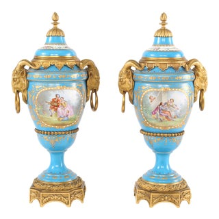 19th Century Bronze Mounted Porcelain Covered Urns - a Pair For Sale
