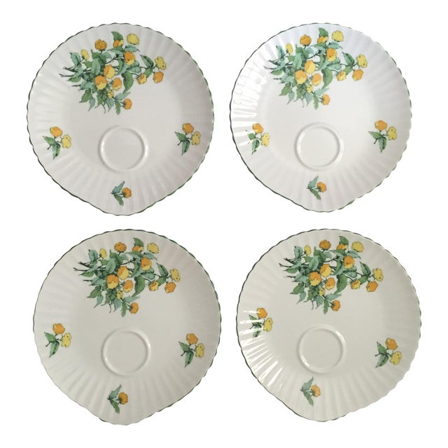 Staffordshire Cornwall Scalloped Teacup Dessert Plates - Set of 4 For Sale