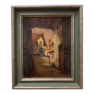 Mid 20th Century French Street Scene Acrylic Painting, Framed For Sale