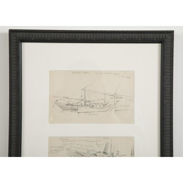 "Reynolds Beal ""Sail Boats and Fishing Boats"" Pencil Sketches - a Pair For Sale - Image 10 of 13"