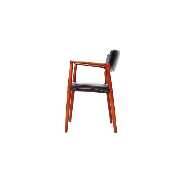 Armchair in Teak and Black Leather by Ejnar Larsen and Aksel Bender Madsen For Sale In Providence - Image 6 of 9