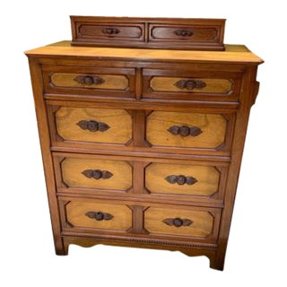 Antique 5 Drawer Dresser With Top Storage Jewelry Box For Sale