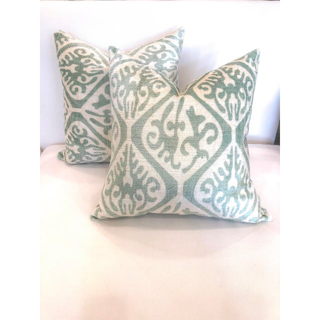 Cream and Sea Foam Ikat Velvet Pillows - a Pair For Sale In Little Rock - Image 6 of 6