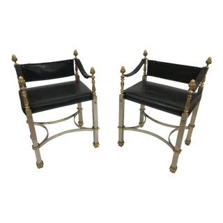 Pair of Maison Jansen Style Campaign Chairs