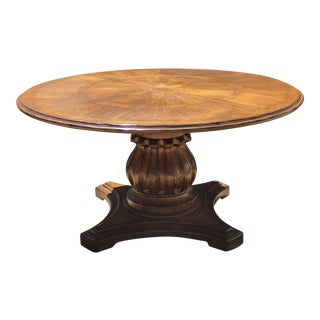 Melvin Wolf Round Butternut Wood Lotus Pedestal Dining-Mediterranean, French Country, Spanish, English For Sale