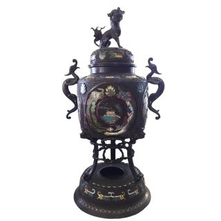 "Antique Lg Bronze Champleve Incense Burner 28"" H For Sale"