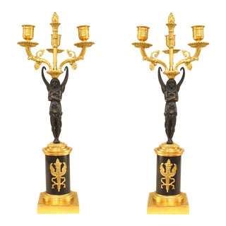 French Empire Gilt Bronze and Ormalu Candelabras - a Pair For Sale