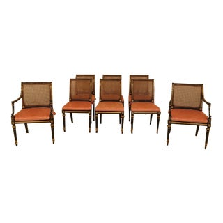 Baker Regency Black & Gold Dining Room Chairs - Set of 8