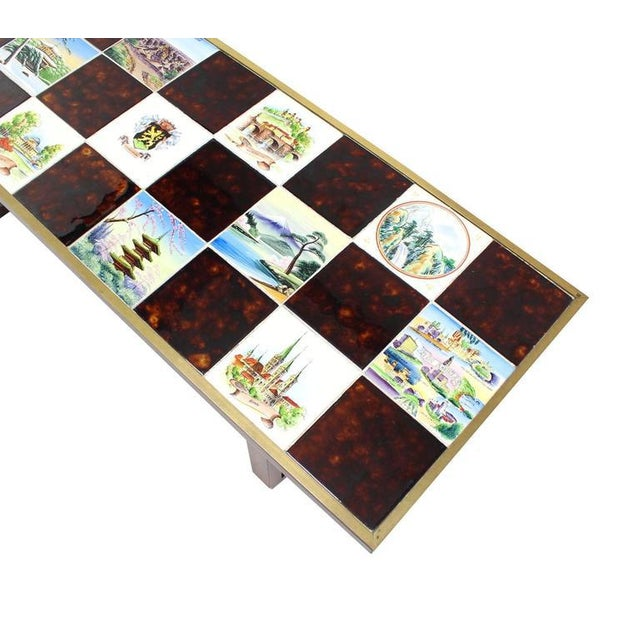 Mid Century Modern Checker Style Tile Top Coffee Table in Brass Frame For Sale In New York - Image 6 of 6