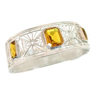 Art Deco Nu-Wite Rhodium & Amber Crystal Spiderweb Filigree Cuff Bracelet 1920s For Sale