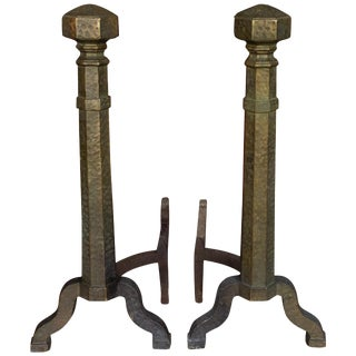 Pair of Large Art Deco Andirons For Sale