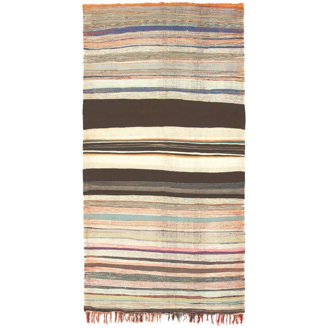 """Mid 20th Century Moroccan Rag Rug -5'7"""" X 10'11"""" For Sale In New York - Image 6 of 6"""