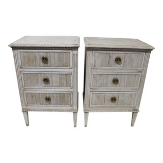 20th Century Swedish Gustavian Bedside 3-Drawer Nightstands - a Pair