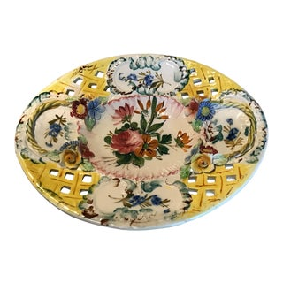 Mid Century Vintage Yellow Reticulated Floral Italian Plate For Sale