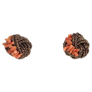 Haskell Style Bronze & Coral Knot Earrings For Sale