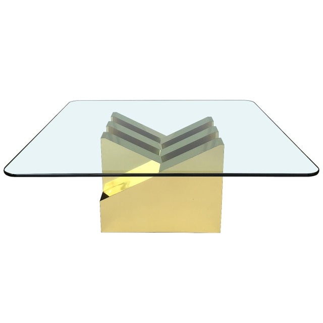 Modern Sculptural Brass Clad Coffee Table For Sale - Image 13 of 13