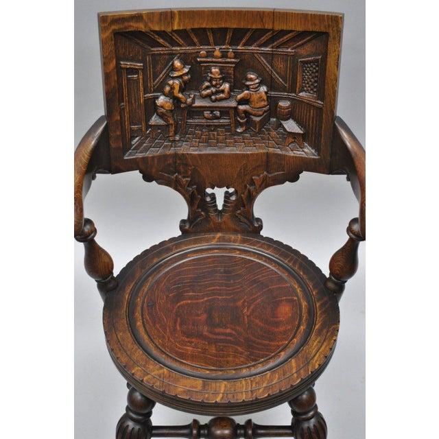 Antique German Carved Tiger Oak Drunken Monks Tavern Pub Arm Chairs - a  Pair For Sale - Antique German Carved Tiger Oak Drunken Monks Tavern Pub Arm Chairs