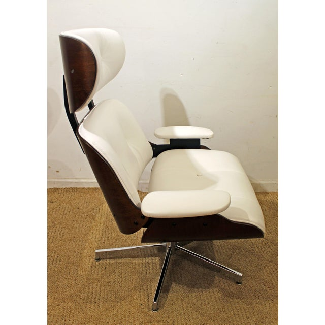 Mid-Century Danish Modern Selig Eames Leather Swivel Lounge Chair/Ottoman-signed For Sale In Philadelphia - Image 6 of 8