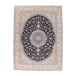 Pasargad Ny Persian Nain Hand-Knotted Lamb's Wool & Silk Rug - 8′10″ × 11′8″ For Sale