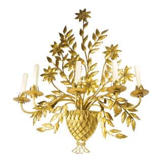 Tole Flower Basket Lighting Sconce For Sale