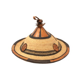 Vintage Leather and Woven Grass Coolie or Conical Hat For Sale