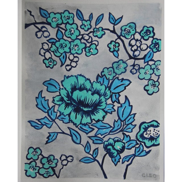 The branches of a cherry tree with a large blooming rose, in blue, inspired by Chinese floral paintings, in indigo, sky...