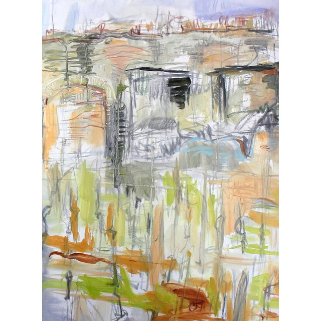 """Vineyard, Clos de Bez"" is a large abstract landscape oil painting on fine Belgian linen canvas by one of Chairish's top..."