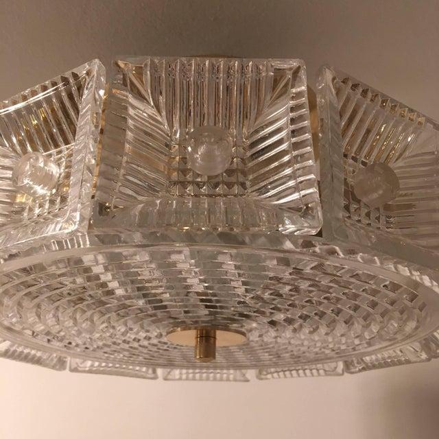 Orrefors Orrefors Swedish Crystal 1950s Flush Ceiling Hanging Amid Century Pendant For Sale - Image 4 of 9