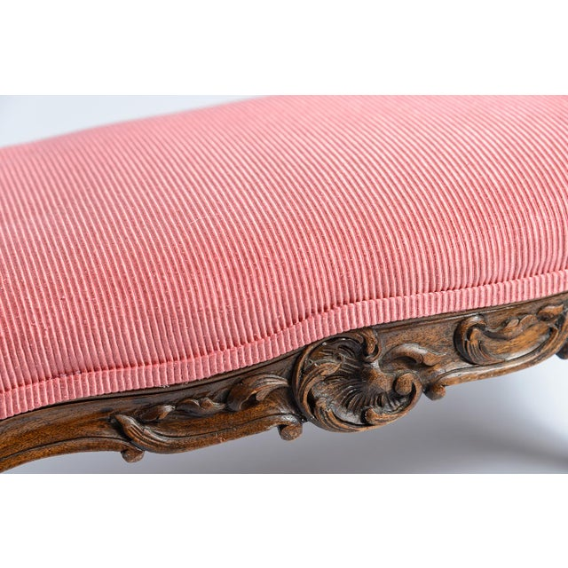 French Louis XV Footstool New Coral Upholstery 19Th C. For Sale - Image 9 of 10
