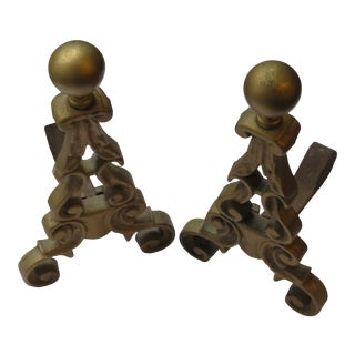 Antique French 19th Century Ornate Cast Iron Andirons - A Pair For Sale