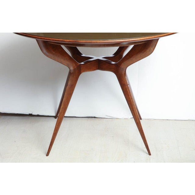 Mid-Century Circular Wood Center Table With Reverse Painted Gold Glass Top For Sale In New York - Image 6 of 8