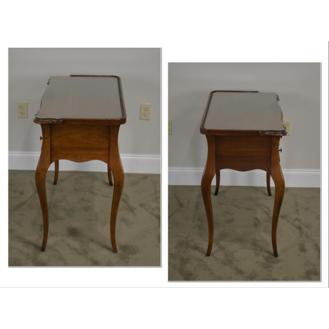 French French Louis XV Style Vintage Walnut Small Writing Desk or Vanity For Sale - Image 3 of 13