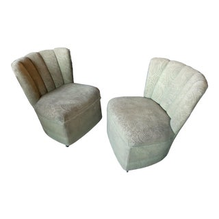 1950s Vintage Kroehler Slipper Chairs- A Pair For Sale