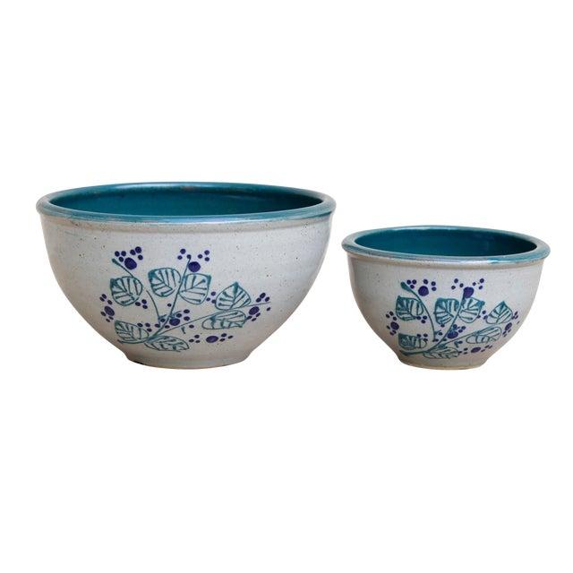 Decorative Earthenware Bowls, Set of 2 For Sale