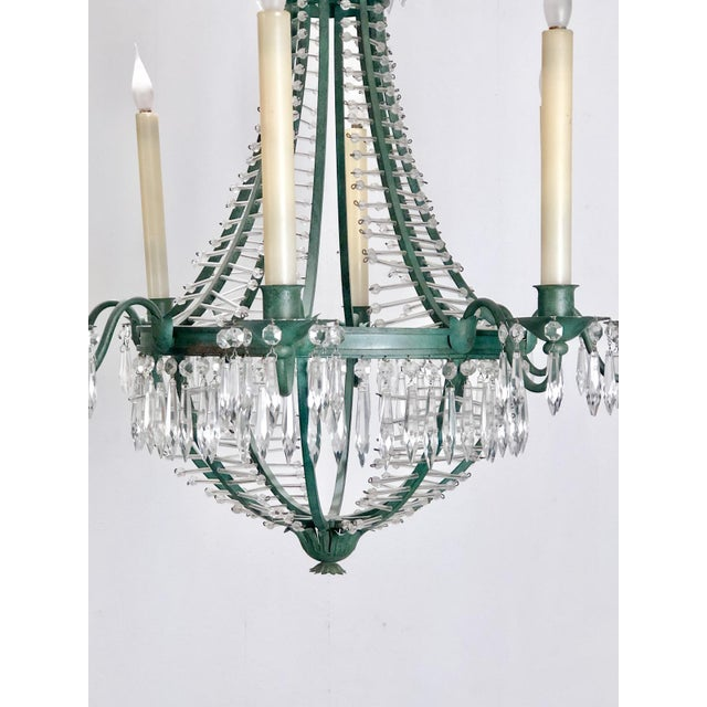 Traditional Baltic Metal and Crystal 6 Light Chandelier, Sweden Circa 1920 For Sale - Image 3 of 7