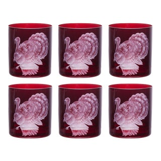 Farm Turkey Double Old Fashioned Glasses Red - Set of 6 For Sale