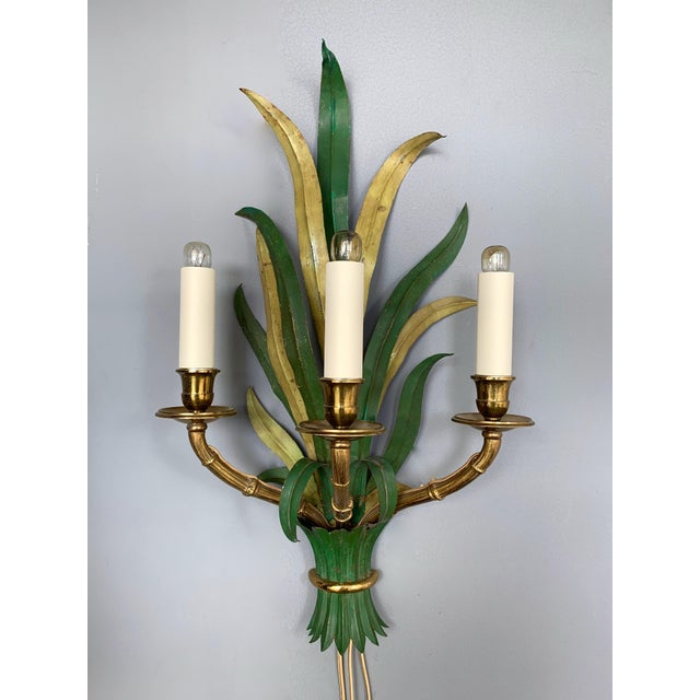 Pair of Sconces Bamboo Palm Bronze by Maison Bagues, France, 1970s For Sale - Image 11 of 13