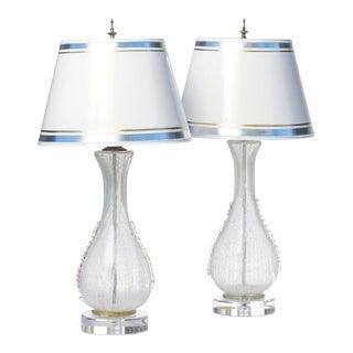 Vintage Italian White Latticino Murano Lamps - a Pair For Sale