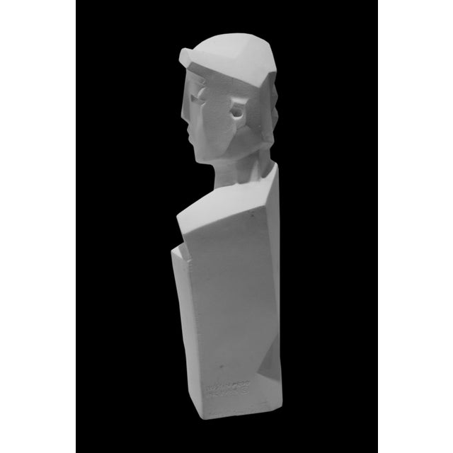 Plaster Karin Swildens White Deco Man and Woman Cast Sculptures For Sale - Image 7 of 13